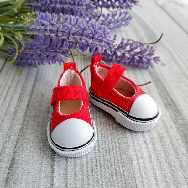кеды-туфли на липучках 5см красные