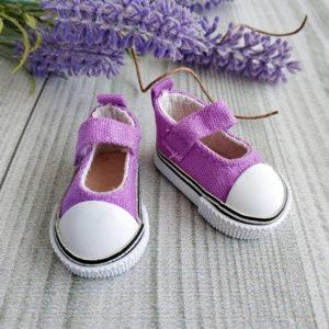 кеды-туфли на липучках 5см сиреневые