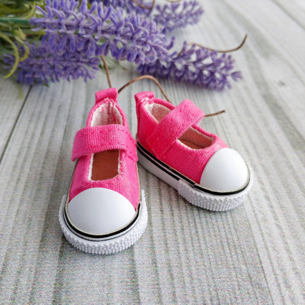 кеды-туфли на липучках 5см ярко-розовые