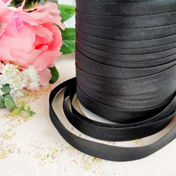 косая бейка атласная 1,5см черная