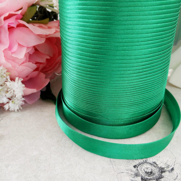 косая бейка атласная 1,5см зеленая