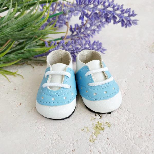 кроссовки на шнурках 5см голубые