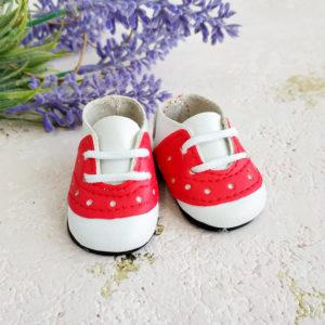 кроссовки на шнурках 5см красные