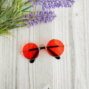 очки круглые металл золото с красными стеклами