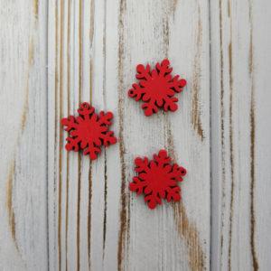 подвеска снежинка дерево красный