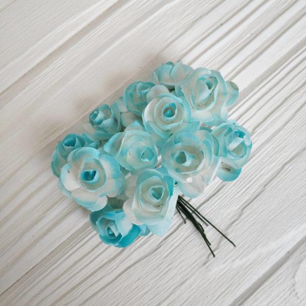роза пучок 12шт голубой