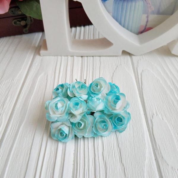 роза пучок 12шт голубой2