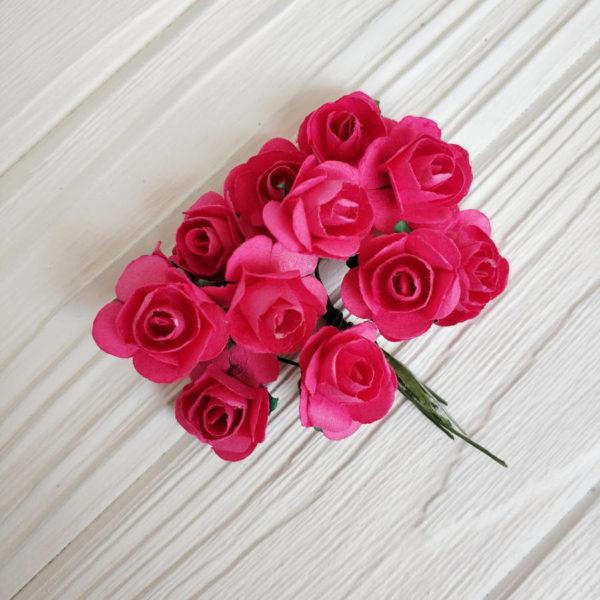 роза пучок 12шт малиновый