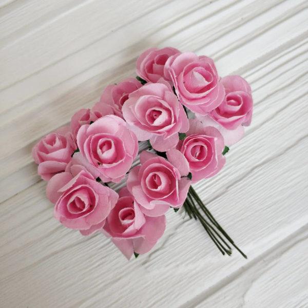 роза пучок 12шт розовый