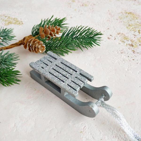 санки деревянные серебро