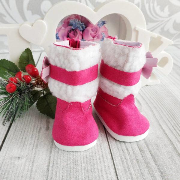сапоги с бантом 7см ярко-розовые