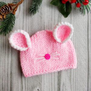 """шапочка """"Мышка"""" розовая"""