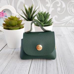 сумка на кнопке темно-зеленая