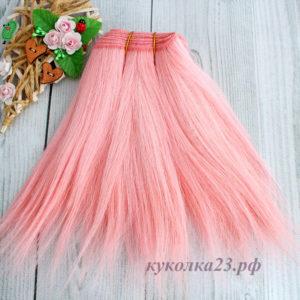 трессы натуральные коза прямые розовый