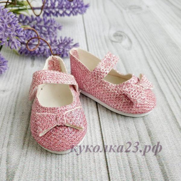 """туфли """"Бантик"""" 7см глиттер розовый"""