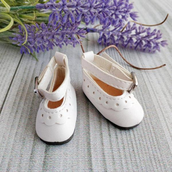 туфли с белой отделкой 4,5см белые