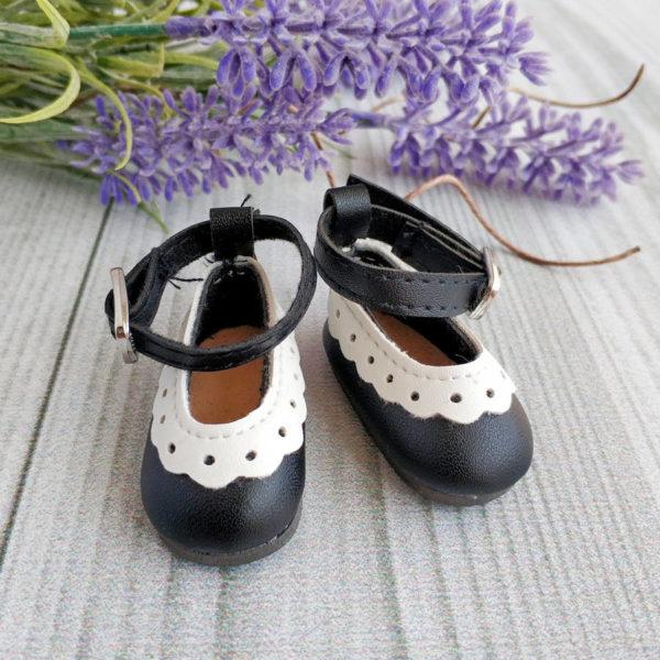 туфли с белой отделкой 4,5см черные