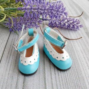 туфли с белой отделкой 4,5см голубые