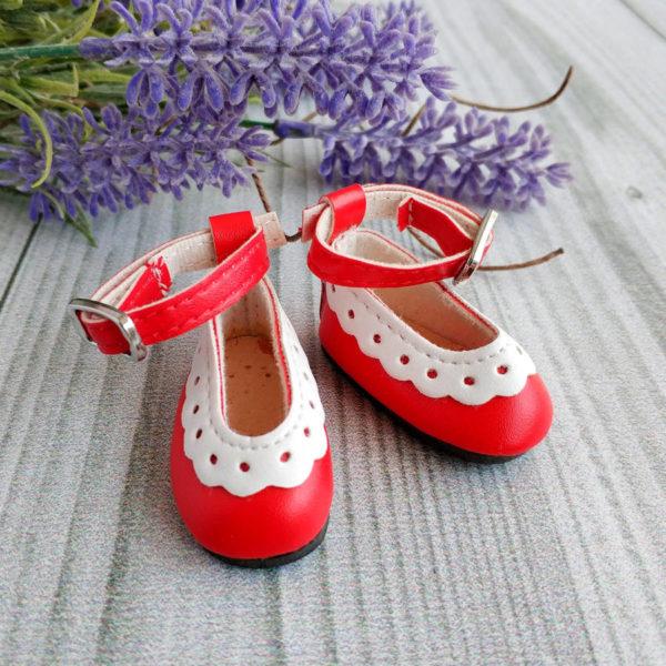 туфли с белой отделкой 4,5см красные