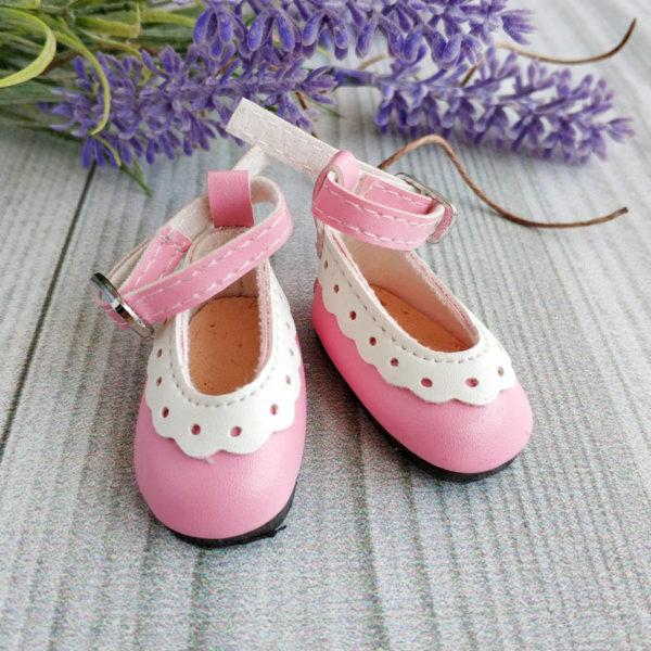 туфли с белой отделкой 4,5см розовые