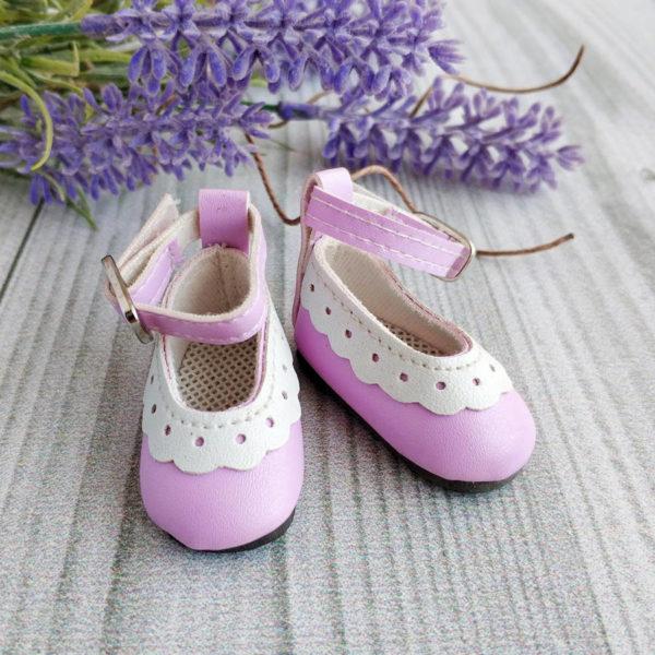туфли с белой отделкой 4,5см сиреневые
