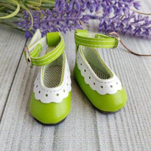 туфли с белой отделкой 4,5см зеленые