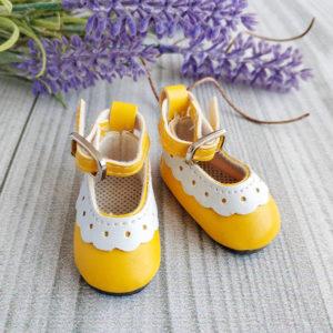 туфли с белой отделкой 4,5см желтые