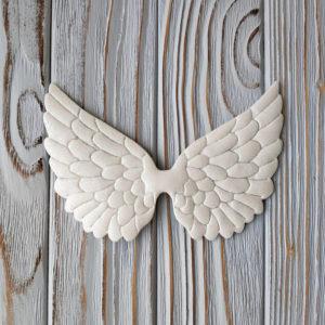 крылья белые глиттер 12см