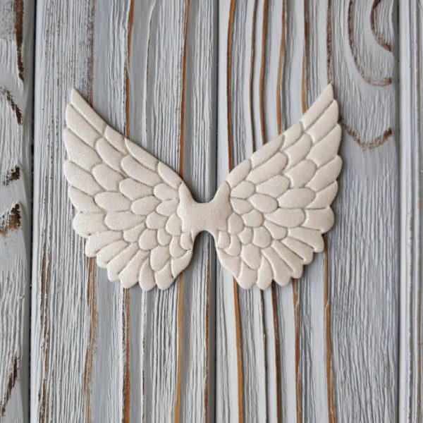 крылья белые глиттер 8,5см
