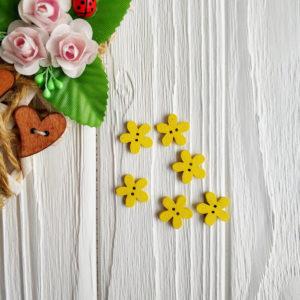 """пуговица деревянная """"Цветок"""" желтая"""
