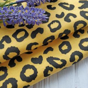 трикотаж интерлок леопард желтый