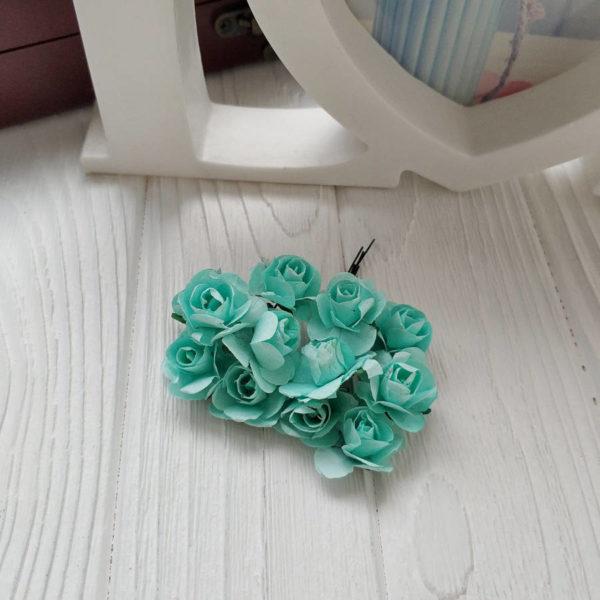 букет розы бумага мятный