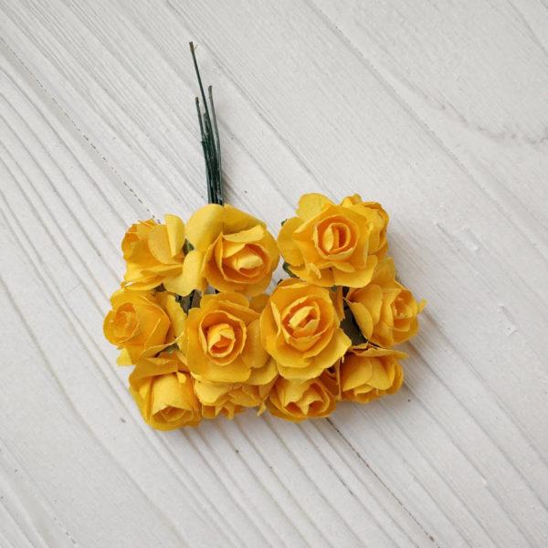 букет розы бумага желтый2
