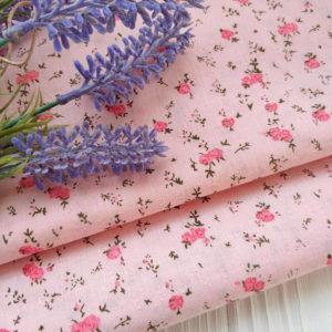 хлопок жаккард Цветочки на розовом