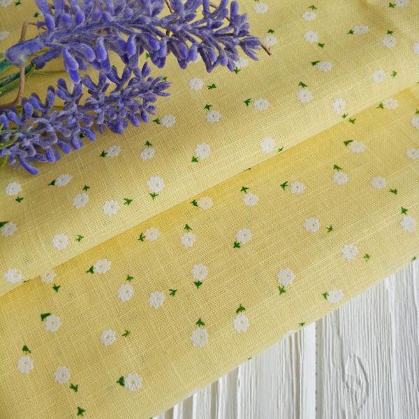 хлопок желтый в белый цветочек