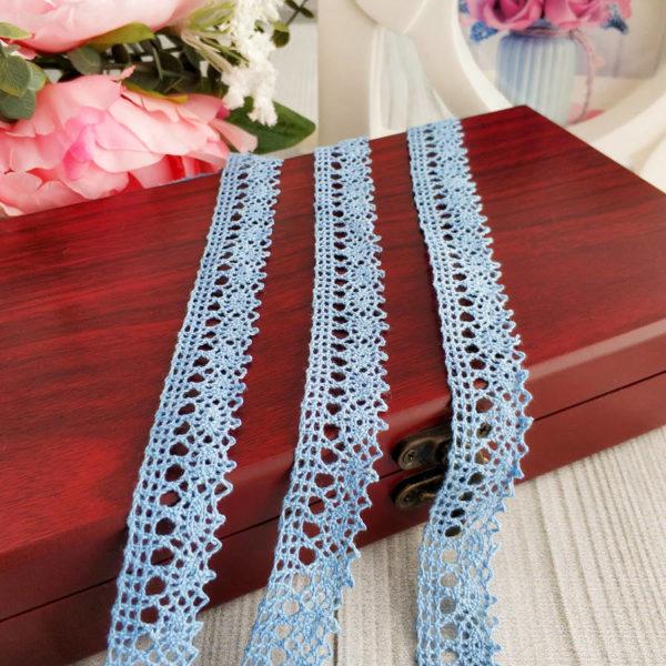 кружево вязаное голубое 18мм