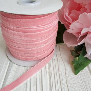 лента бархатная розово-персиковая
