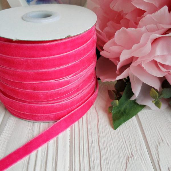 лента бархатная ярко-розовая