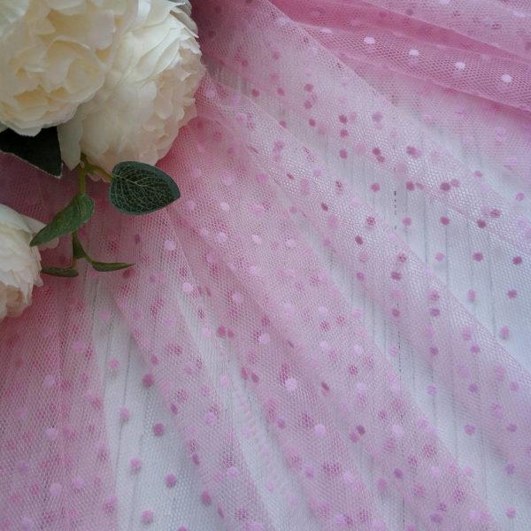 мягкий фатин розовый мушка флок