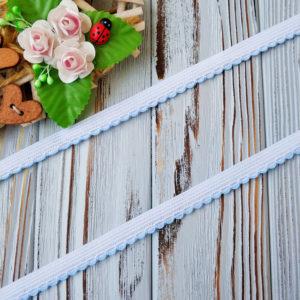 резинка бельевая с фестонами белая с голубым 10мм