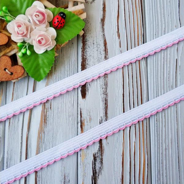 резинка бельевая с фестонами белая с розовым 10мм