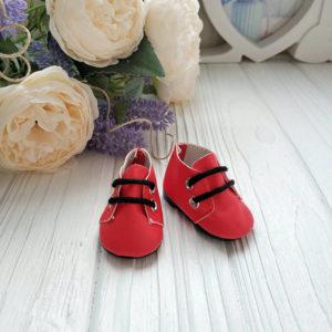 ботинки 5см красные с черными шнурками