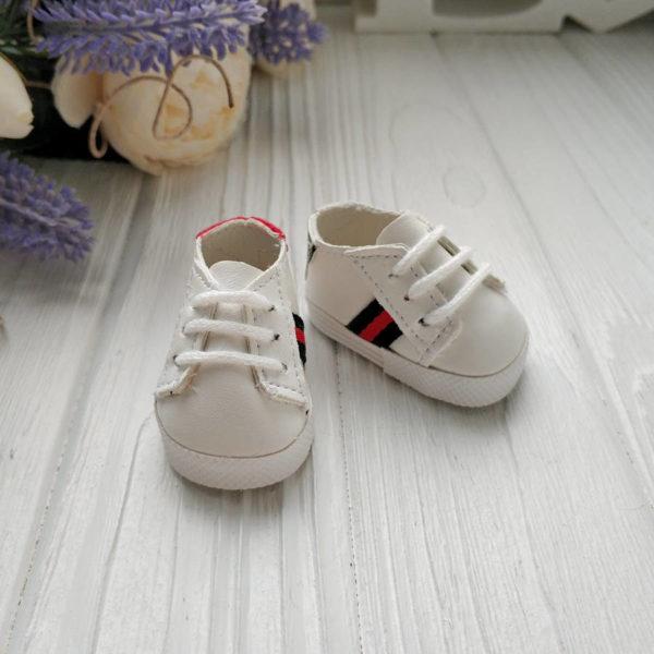 кроссовки белые с зелено-красной полосой
