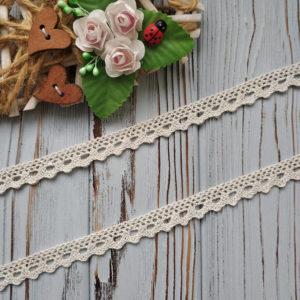 кружево вязаное 12мм бежевое с люрексом