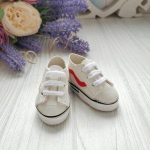 кроссовки 5.5см кожзам белые с красной полосой