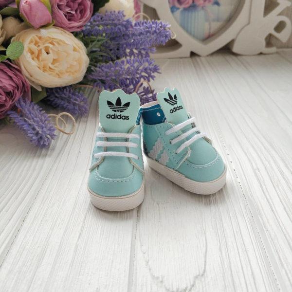 кроссовки бренд 5см голубые